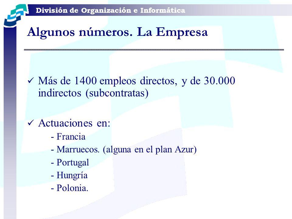 División de Organización e Informática Algunos números. La Empresa Más de 1400 empleos directos, y de 30.000 indirectos (subcontratas) Actuaciones en: