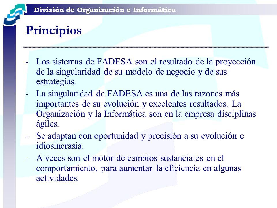 División de Organización e Informática Principios - Los sistemas de FADESA son el resultado de la proyección de la singularidad de su modelo de negoci