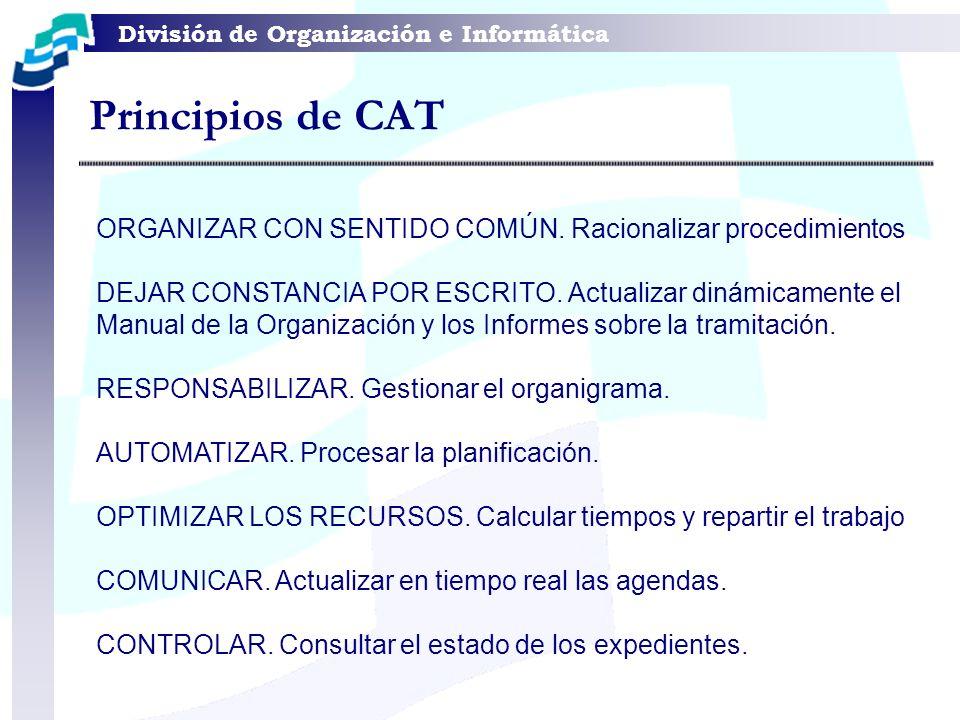 División de Organización e Informática ORGANIZAR CON SENTIDO COMÚN. Racionalizar procedimientos DEJAR CONSTANCIA POR ESCRITO. Actualizar dinámicamente