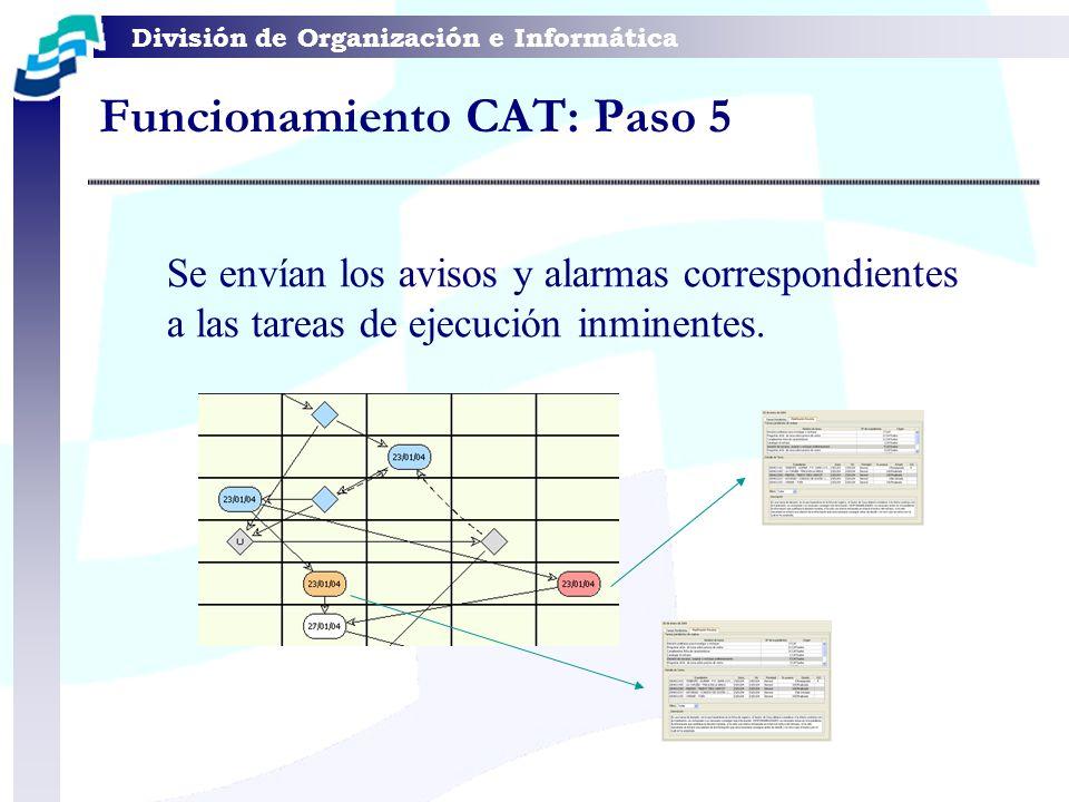 División de Organización e Informática Funcionamiento CAT: Paso 5 Se envían los avisos y alarmas correspondientes a las tareas de ejecución inminentes
