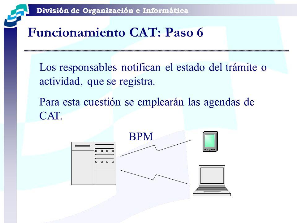 División de Organización e Informática Los responsables notifican el estado del trámite o actividad, que se registra. Para esta cuestión se emplearán