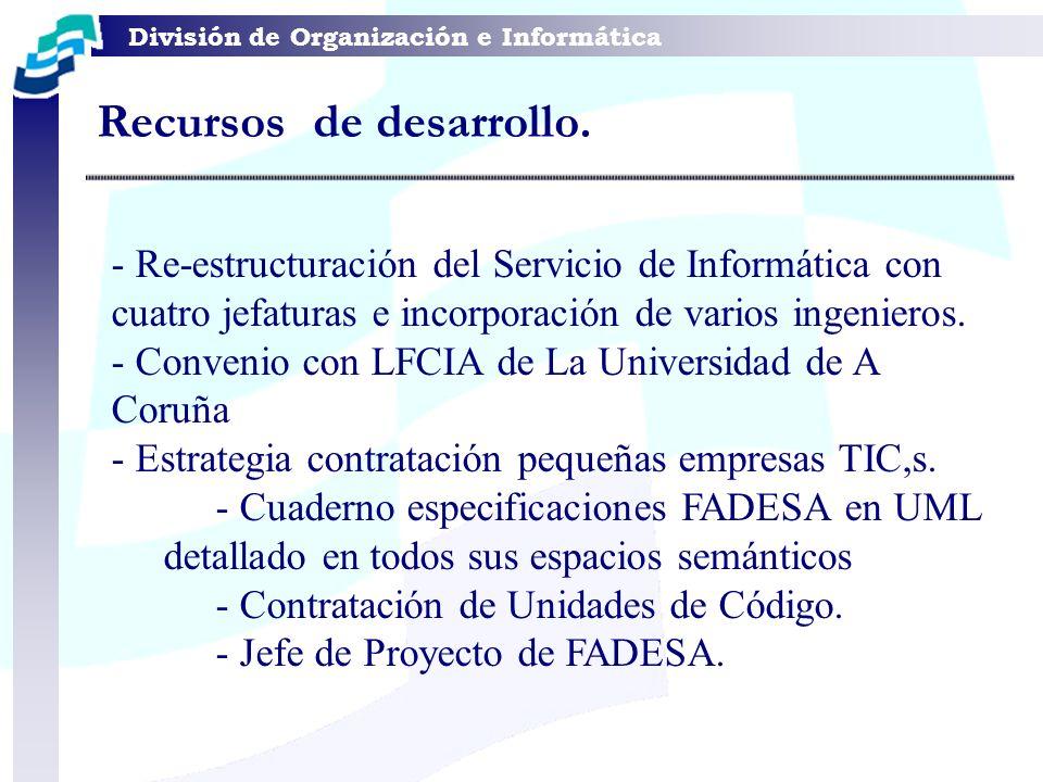 División de Organización e Informática Recursos de desarrollo. - Re-estructuración del Servicio de Informática con cuatro jefaturas e incorporación de