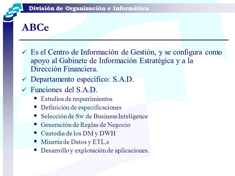 División de Organización e Informática Es el Centro de Información de Gestión, y se configura como apoyo al Gabinete de Información Estratégica y a la