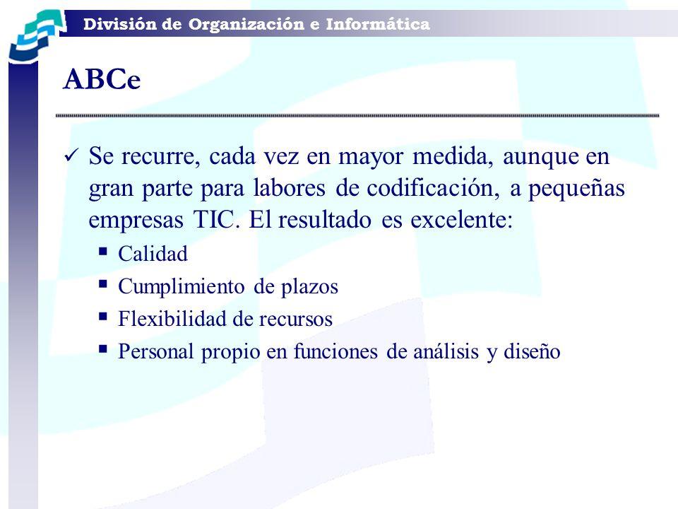 División de Organización e Informática Se recurre, cada vez en mayor medida, aunque en gran parte para labores de codificación, a pequeñas empresas TI
