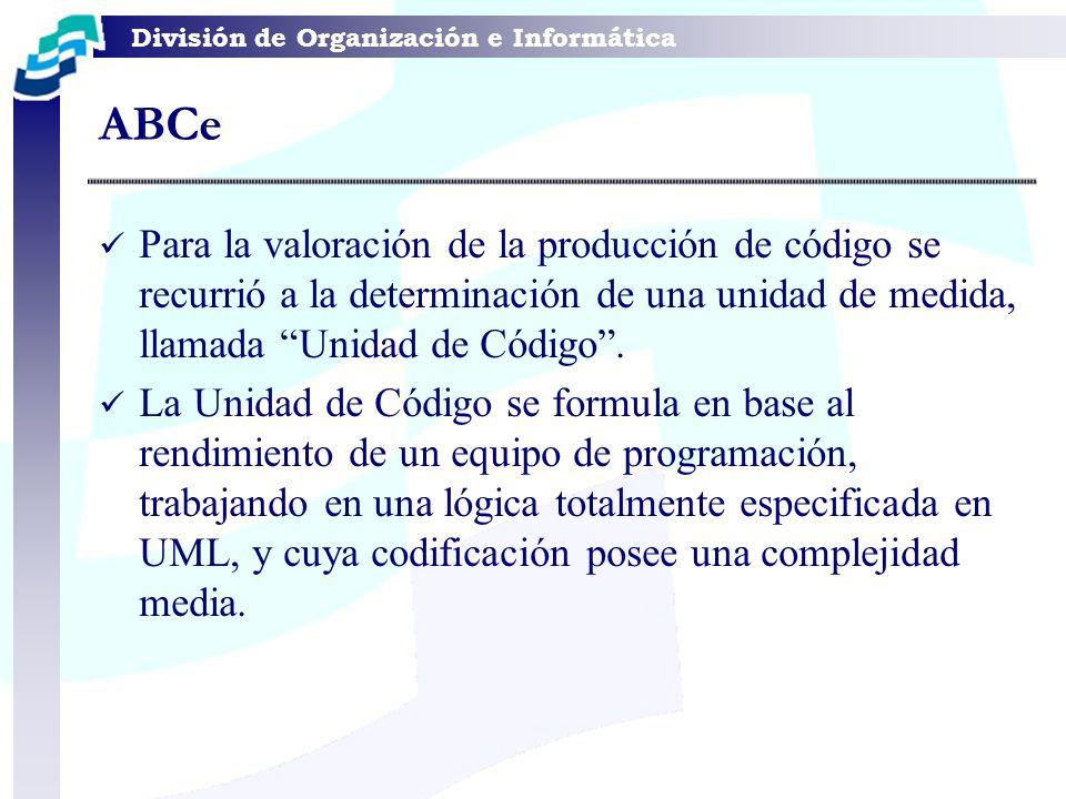 División de Organización e Informática Para la valoración de la producción de código se recurrió a la determinación de una unidad de medida, llamada U