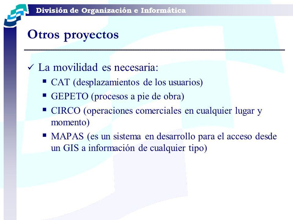 División de Organización e Informática La movilidad es necesaria: CAT (desplazamientos de los usuarios) GEPETO (procesos a pie de obra) CIRCO (operaci