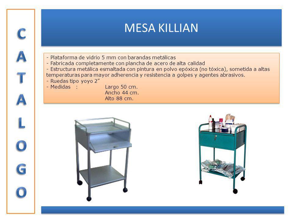MESA KILLIAN - Plataforma de vidrio 5 mm con barandas metálicas - Fabricada completamente con plancha de acero de alta calidad - Estructura metálica e