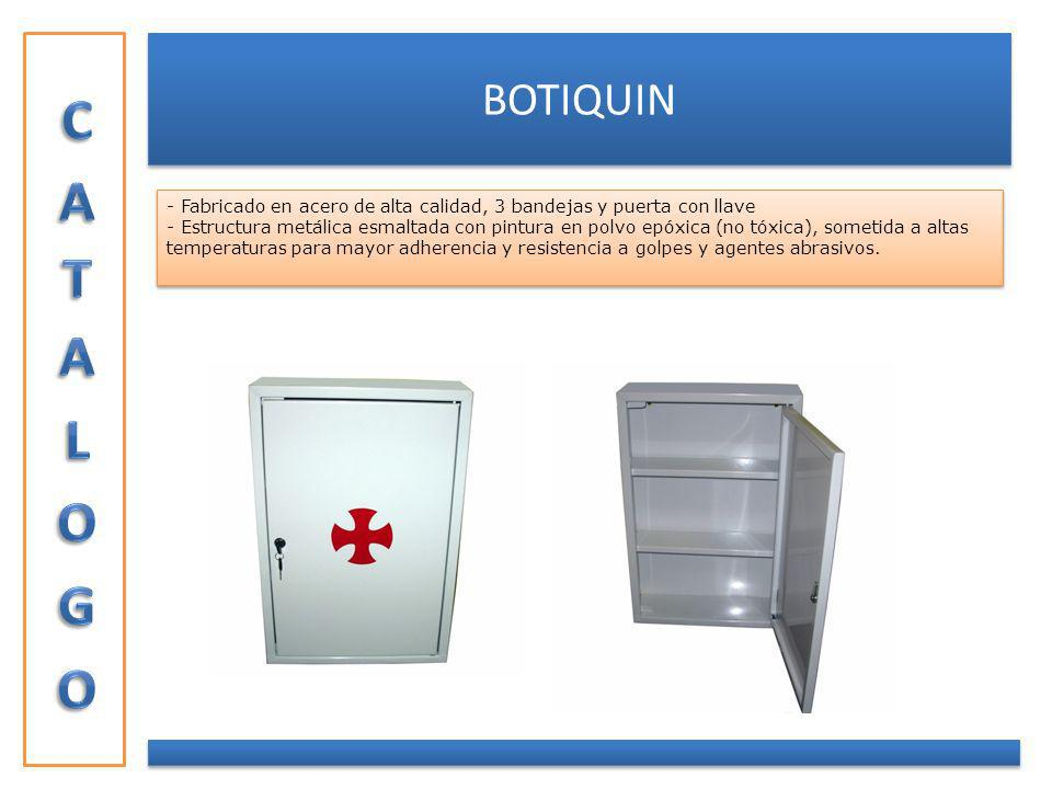 BOTIQUIN - Fabricado en acero de alta calidad, 3 bandejas y puerta con llave - Estructura metálica esmaltada con pintura en polvo epóxica (no tóxica),