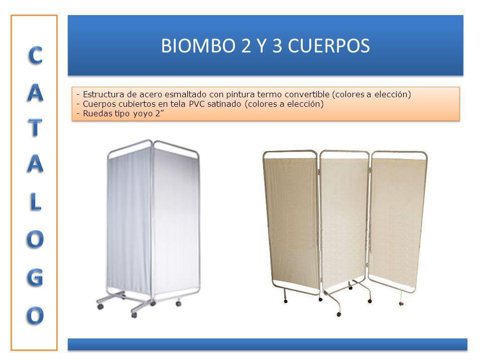 BIOMBO 2 Y 3 CUERPOS - Estructura de acero esmaltado con pintura termo convertible (colores a elección) - Cuerpos cubiertos en tela PVC satinado (colo