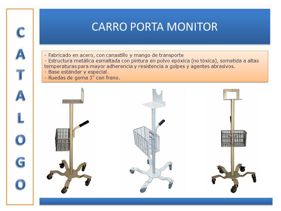 CARRO PORTA MONITOR - Fabricado en acero, con canastillo y mango de transporte - Estructura metálica esmaltada con pintura en polvo epóxica (no tóxica