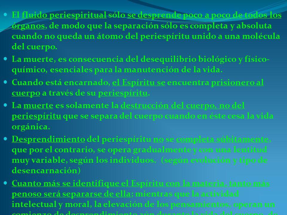 El fluido periespiritual sólo se desprende poco a poco de todos los órganos, de modo que la separación sólo es completa y absoluta cuando no queda un átomo del periespíritu unido a una molécula del cuerpo.