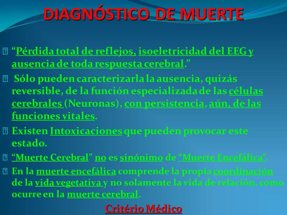 DIAGNÓSTICO DE MUERTE Pérdida total de reflejos, isoeletricidad del EEG y ausencia de toda respuesta cerebral.