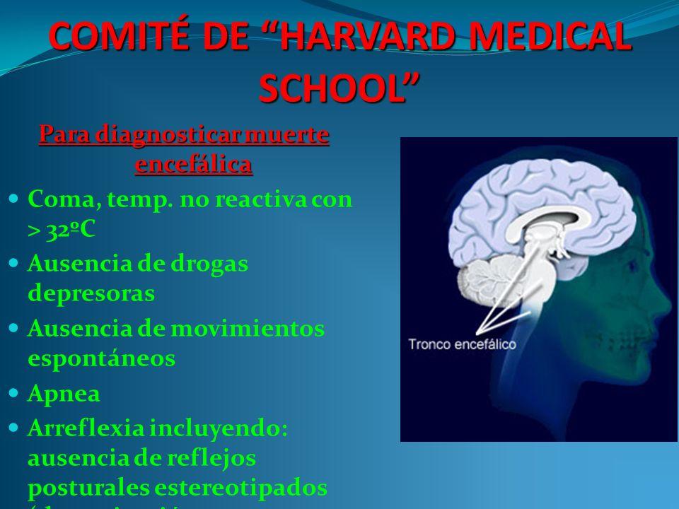 COMITÉ DE HARVARD MEDICAL SCHOOL Para diagnosticar muerte encefálica Coma, temp.