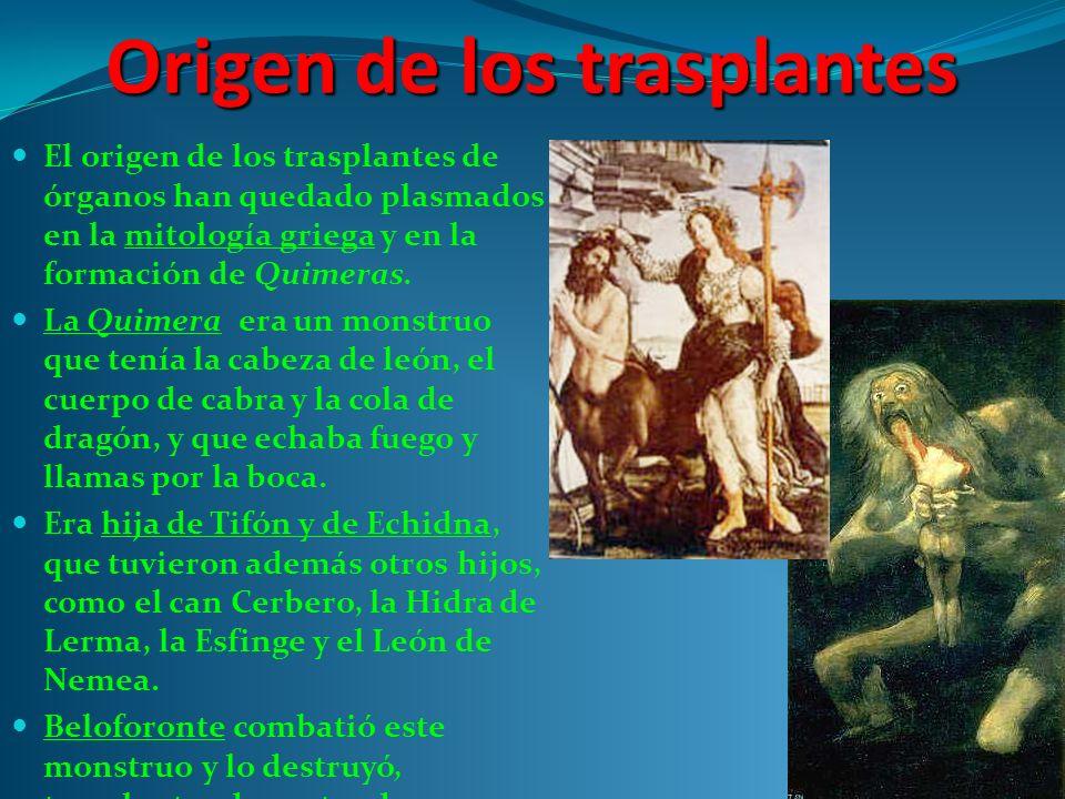 Origen de los trasplantes El origen de los trasplantes de órganos han quedado plasmados en la mitología griega y en la formación de Quimeras.