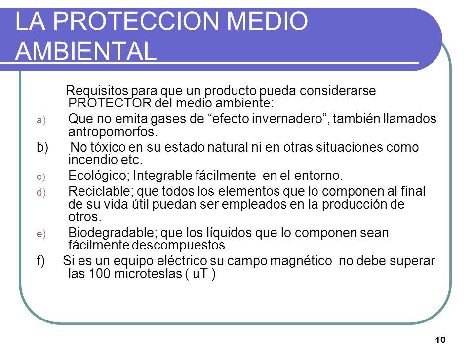 10 LA PROTECCION MEDIO AMBIENTAL Requisitos para que un producto pueda considerarse PROTECTOR del medio ambiente: a) Que no emita gases de efecto inve