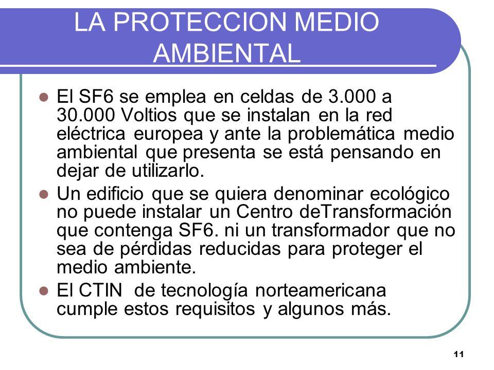 11 LA PROTECCION MEDIO AMBIENTAL El SF6 se emplea en celdas de 3.000 a 30.000 Voltios que se instalan en la red eléctrica europea y ante la problemáti