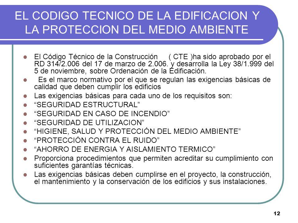 12 EL CODIGO TECNICO DE LA EDIFICACION Y LA PROTECCION DEL MEDIO AMBIENTE El Código Técnico de la Construcción ( CTE )ha sido aprobado por el RD 314/2