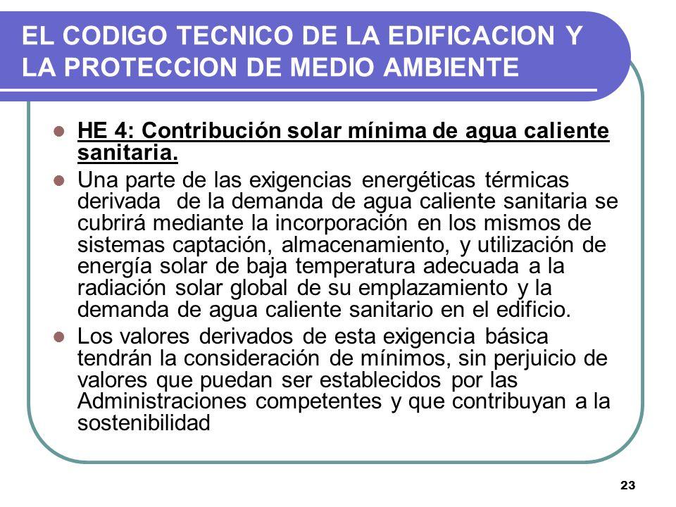 23 EL CODIGO TECNICO DE LA EDIFICACION Y LA PROTECCION DE MEDIO AMBIENTE HE 4: Contribución solar mínima de agua caliente sanitaria. Una parte de las