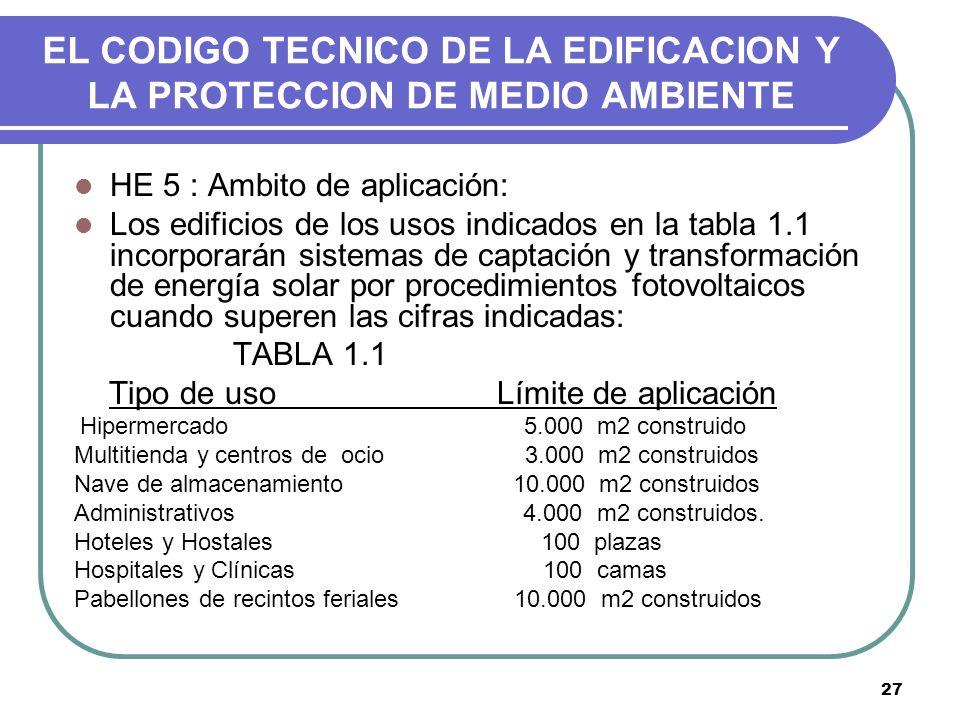 27 EL CODIGO TECNICO DE LA EDIFICACION Y LA PROTECCION DE MEDIO AMBIENTE HE 5 : Ambito de aplicación: Los edificios de los usos indicados en la tabla