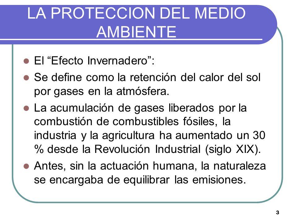 3 LA PROTECCION DEL MEDIO AMBIENTE El Efecto Invernadero: Se define como la retención del calor del sol por gases en la atmósfera. La acumulación de g