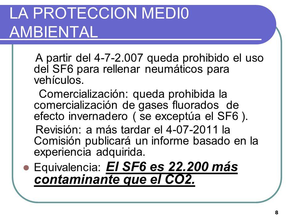 8 LA PROTECCION MEDI0 AMBIENTAL A partir del 4-7-2.007 queda prohibido el uso del SF6 para rellenar neumáticos para vehículos. Comercialización: queda