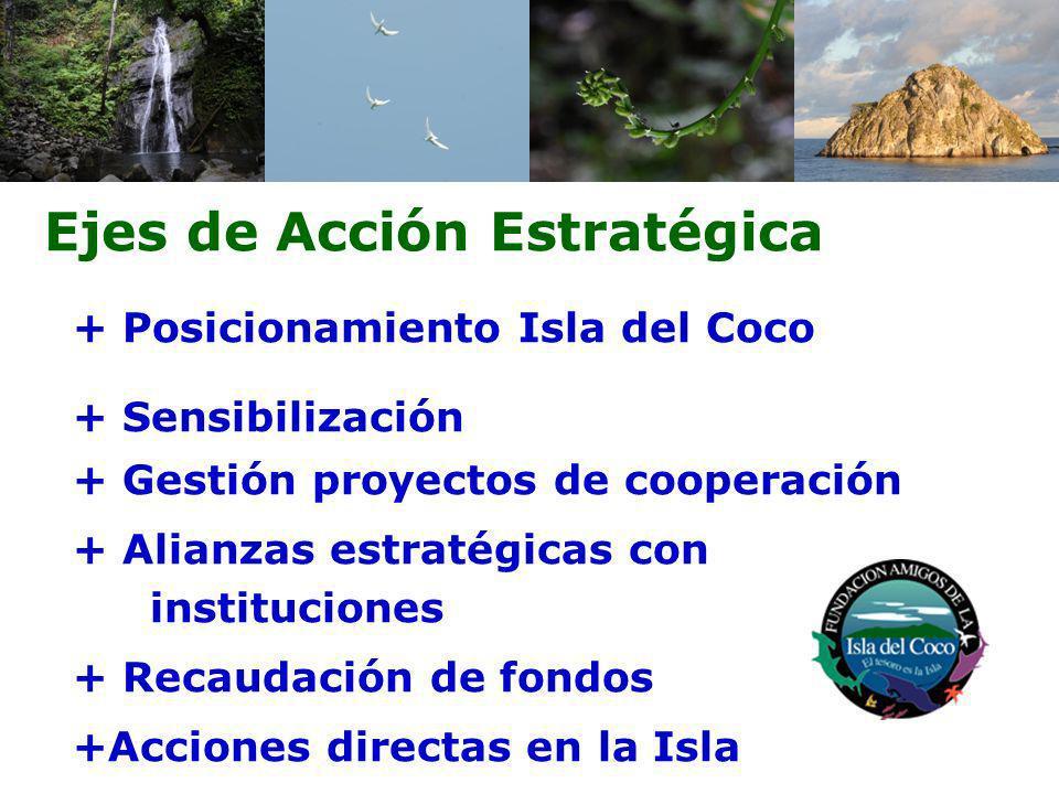 Ejes de Acción Estratégica + Posicionamiento Isla del Coco + Sensibilización + Gestión proyectos de cooperación + Alianzas estratégicas con institucio