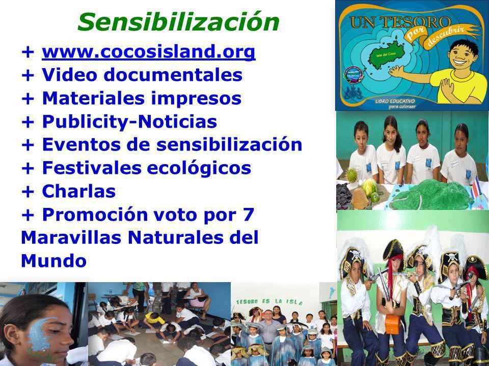Sensibilización + www.cocosisland.orgwww.cocosisland.org + Video documentales + Materiales impresos + Publicity-Noticias + Eventos de sensibilización