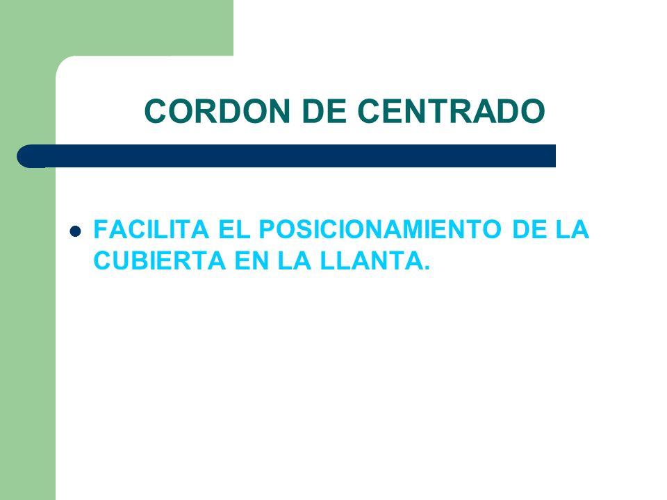 CORDON DE CENTRADO FACILITA EL POSICIONAMIENTO DE LA CUBIERTA EN LA LLANTA.