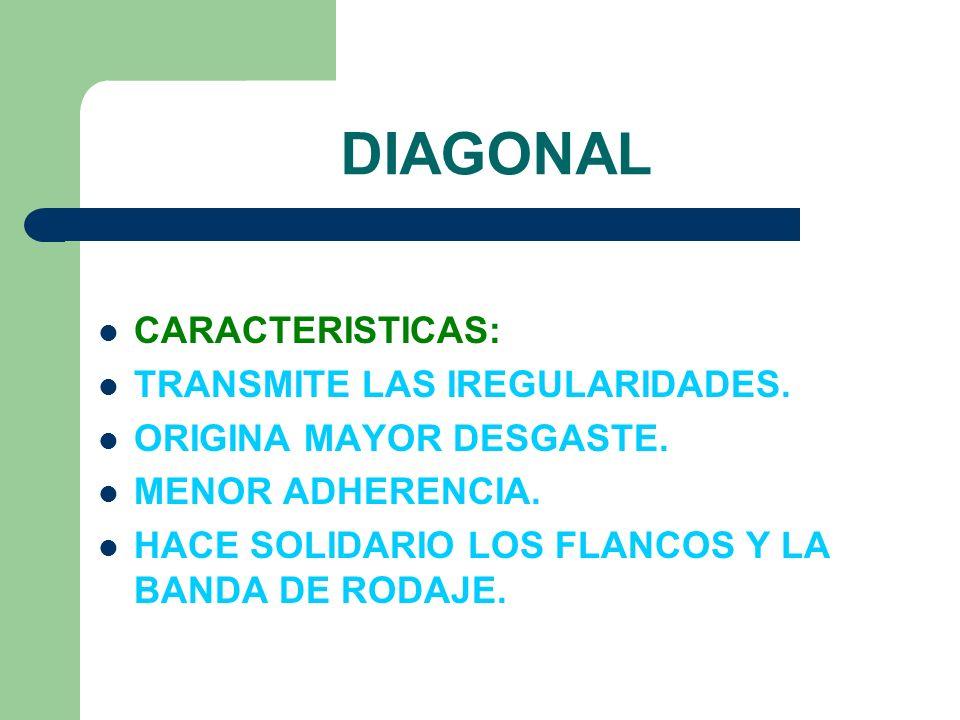 DIAGONAL CARACTERISTICAS: TRANSMITE LAS IREGULARIDADES. ORIGINA MAYOR DESGASTE. MENOR ADHERENCIA. HACE SOLIDARIO LOS FLANCOS Y LA BANDA DE RODAJE.