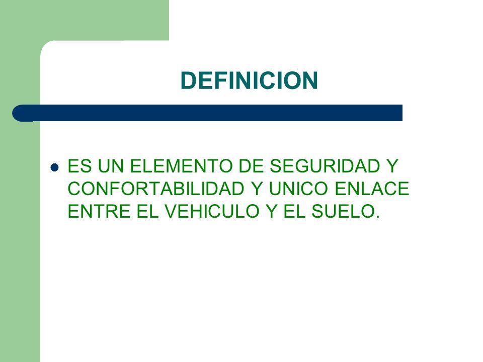 DEFINICION ES UN ELEMENTO DE SEGURIDAD Y CONFORTABILIDAD Y UNICO ENLACE ENTRE EL VEHICULO Y EL SUELO.
