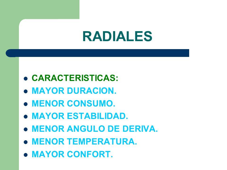 RADIALES CARACTERISTICAS: MAYOR DURACION. MENOR CONSUMO. MAYOR ESTABILIDAD. MENOR ANGULO DE DERIVA. MENOR TEMPERATURA. MAYOR CONFORT.