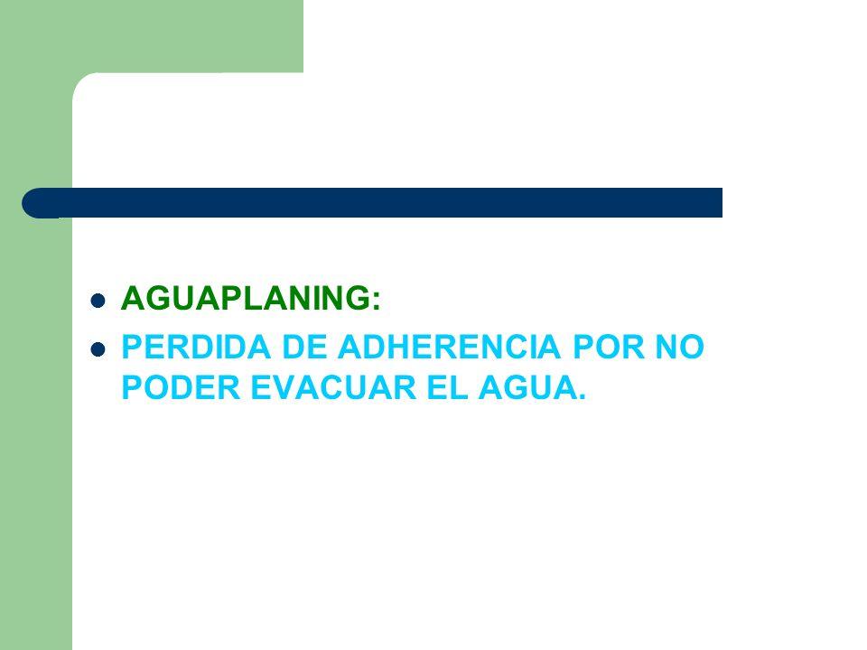 AGUAPLANING: PERDIDA DE ADHERENCIA POR NO PODER EVACUAR EL AGUA.