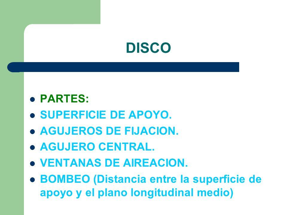 DISCO PARTES: SUPERFICIE DE APOYO. AGUJEROS DE FIJACION. AGUJERO CENTRAL. VENTANAS DE AIREACION. BOMBEO (Distancia entre la superficie de apoyo y el p