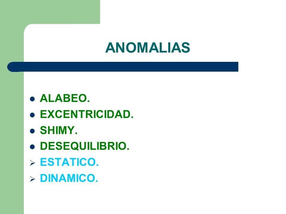 ANOMALIAS ALABEO. EXCENTRICIDAD. SHIMY. DESEQUILIBRIO. ESTATICO. DINAMICO.