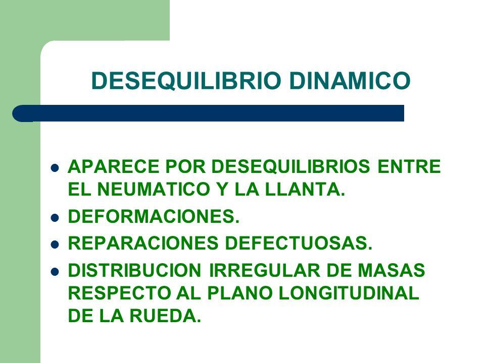 DESEQUILIBRIO DINAMICO APARECE POR DESEQUILIBRIOS ENTRE EL NEUMATICO Y LA LLANTA. DEFORMACIONES. REPARACIONES DEFECTUOSAS. DISTRIBUCION IRREGULAR DE M