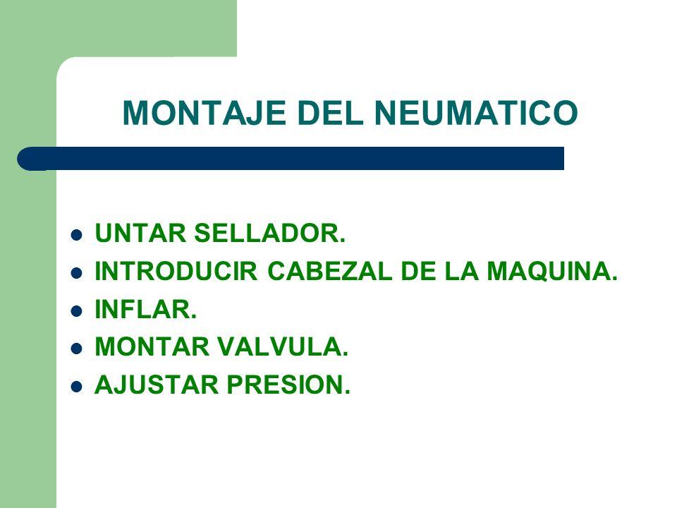 MONTAJE DEL NEUMATICO UNTAR SELLADOR. INTRODUCIR CABEZAL DE LA MAQUINA. INFLAR. MONTAR VALVULA. AJUSTAR PRESION.