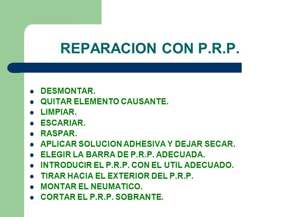 REPARACION CON P.R.P. DESMONTAR. QUITAR ELEMENTO CAUSANTE. LIMPIAR. ESCARIAR. RASPAR. APLICAR SOLUCION ADHESIVA Y DEJAR SECAR. ELEGIR LA BARRA DE P.R.