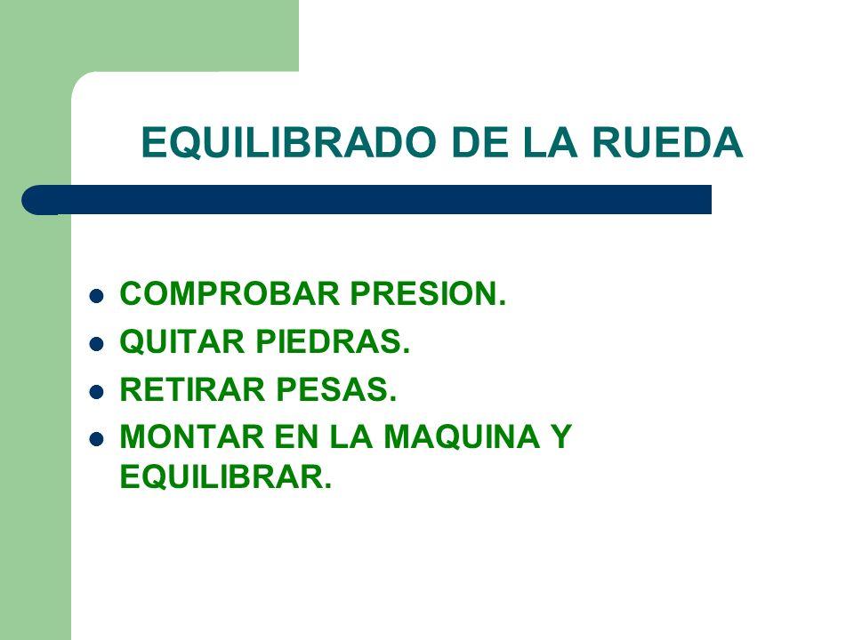 EQUILIBRADO DE LA RUEDA COMPROBAR PRESION. QUITAR PIEDRAS. RETIRAR PESAS. MONTAR EN LA MAQUINA Y EQUILIBRAR.