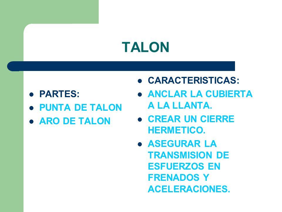 TALON PARTES: PUNTA DE TALON ARO DE TALON CARACTERISTICAS: ANCLAR LA CUBIERTA A LA LLANTA. CREAR UN CIERRE HERMETICO. ASEGURAR LA TRANSMISION DE ESFUE