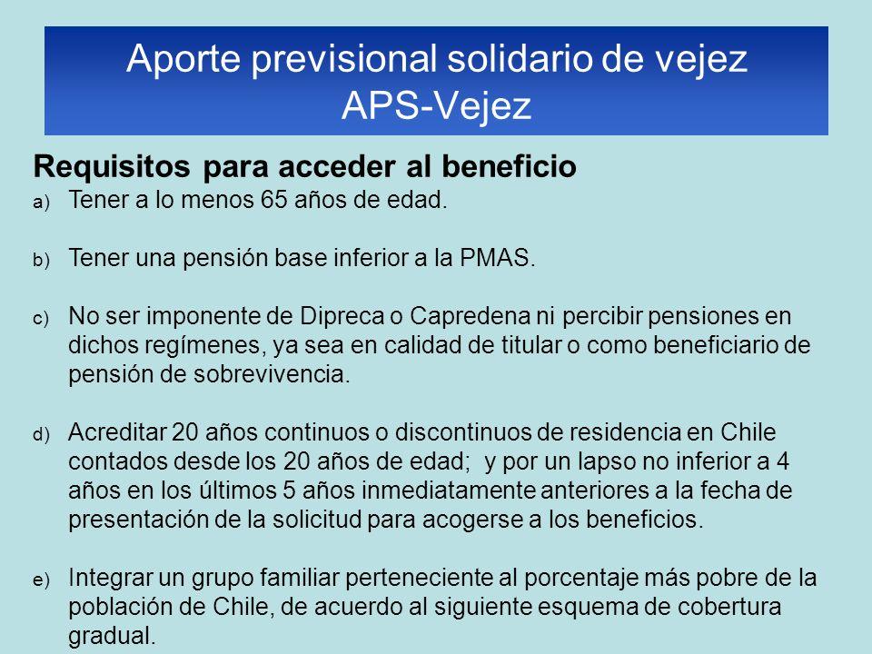 Requisitos para acceder al beneficio a) Tener a lo menos 65 años de edad. b) Tener una pensión base inferior a la PMAS. c) No ser imponente de Dipreca