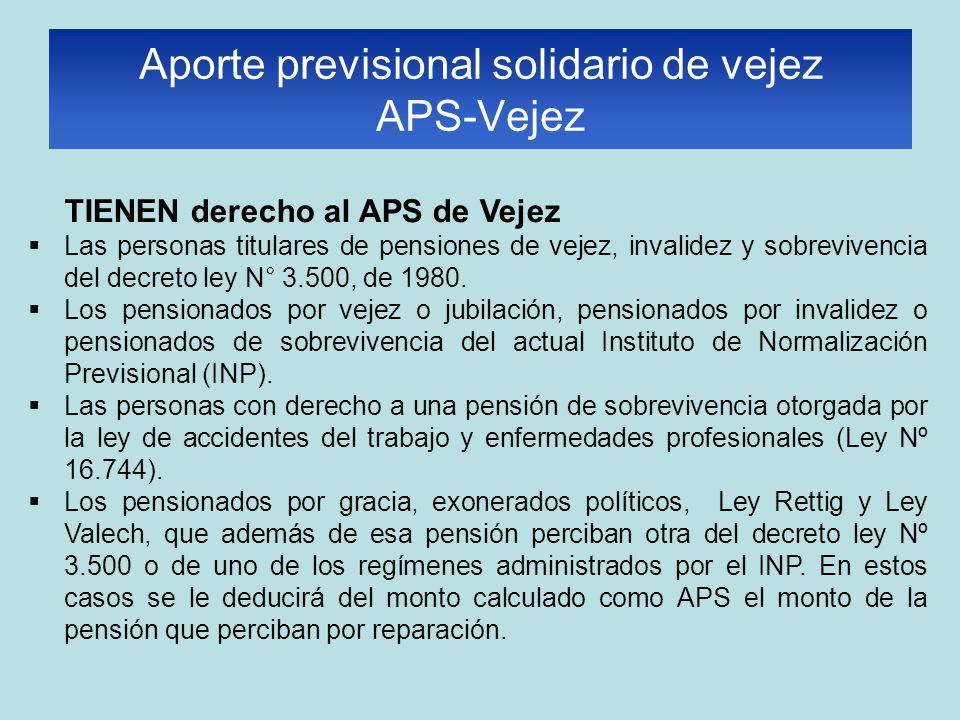 TIENEN derecho al APS de Vejez Las personas titulares de pensiones de vejez, invalidez y sobrevivencia del decreto ley N° 3.500, de 1980. Los pensiona