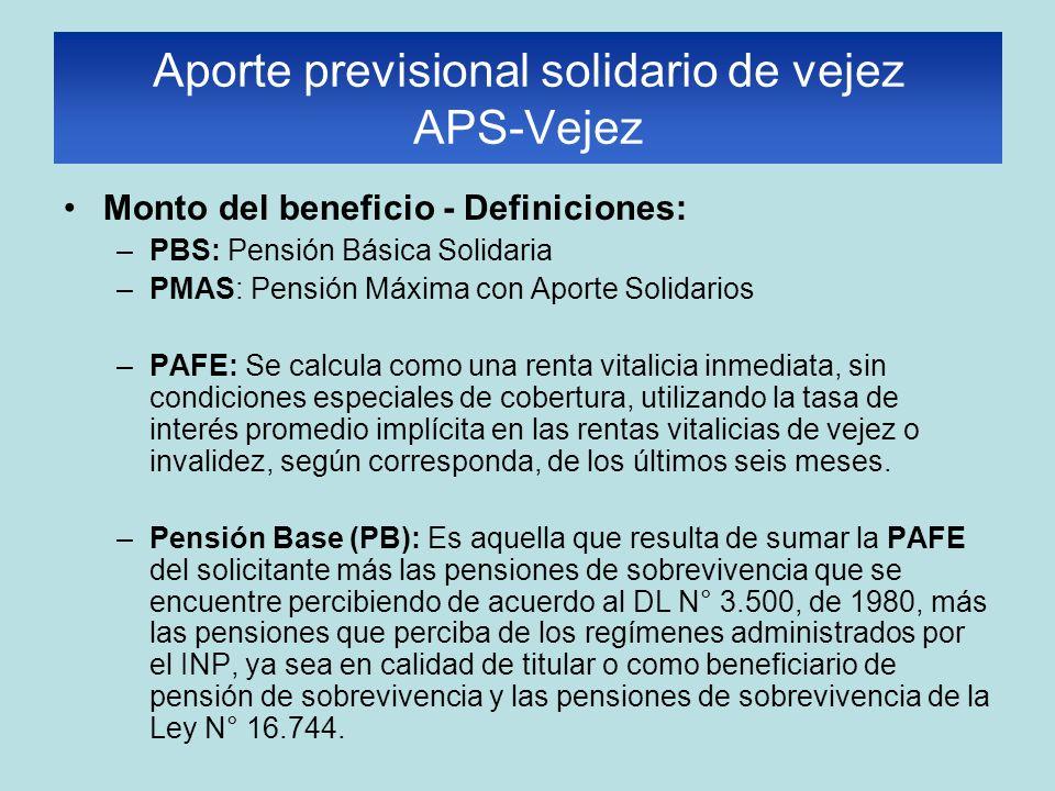 Monto del beneficio - Definiciones: –PBS: Pensión Básica Solidaria –PMAS: Pensión Máxima con Aporte Solidarios –PAFE: Se calcula como una renta vitali