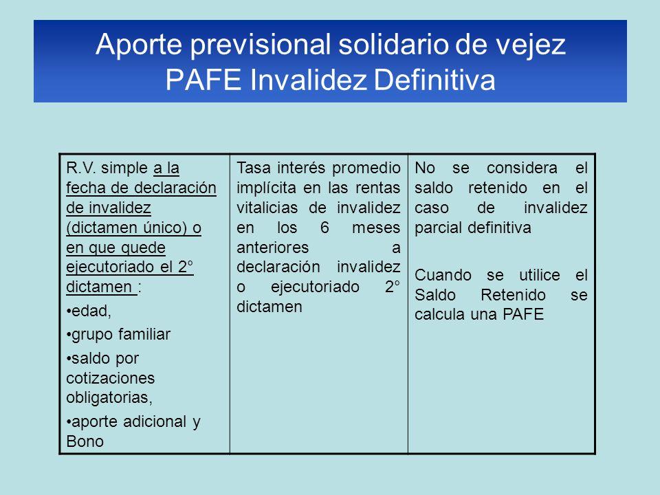 Aporte previsional solidario de vejez PAFE Invalidez Definitiva R.V. simple a la fecha de declaración de invalidez (dictamen único) o en que quede eje