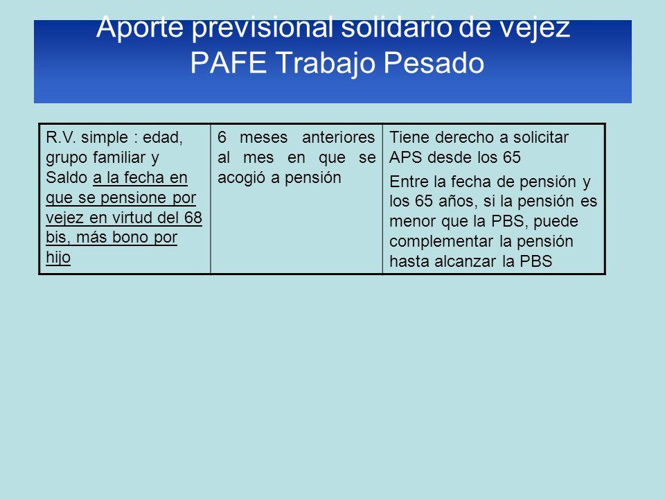 Aporte previsional solidario de vejez PAFE Trabajo Pesado R.V. simple : edad, grupo familiar y Saldo a la fecha en que se pensione por vejez en virtud