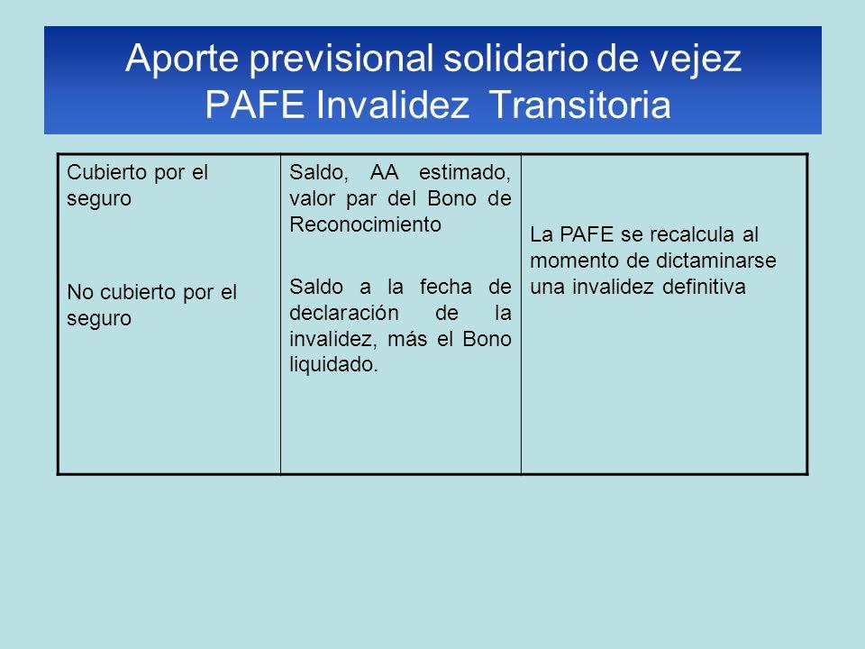 Aporte previsional solidario de vejez PAFE Invalidez Transitoria Cubierto por el seguro No cubierto por el seguro Saldo, AA estimado, valor par del Bono de Reconocimiento Saldo a la fecha de declaración de la invalidez, más el Bono liquidado.
