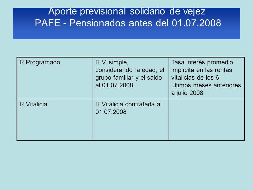 Aporte previsional solidario de vejez PAFE - Pensionados antes del 01.07.2008 R.ProgramadoR.V. simple, considerando la edad, el grupo familiar y el sa