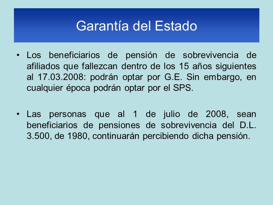 Garantía del Estado Los beneficiarios de pensión de sobrevivencia de afiliados que fallezcan dentro de los 15 años siguientes al 17.03.2008: podrán optar por G.E.