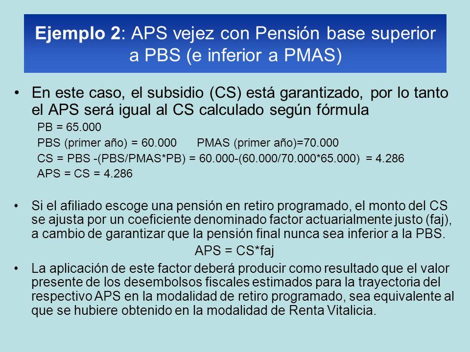 Ejemplo 2: APS vejez con Pensión base superior a PBS (e inferior a PMAS) En este caso, el subsidio (CS) está garantizado, por lo tanto el APS será igual al CS calculado según fórmula PB = 65.000 PBS (primer año) = 60.000 PMAS (primer año)=70.000 CS = PBS -(PBS/PMAS*PB) = 60.000-(60.000/70.000*65.000) = 4.286 APS = CS = 4.286 Si el afiliado escoge una pensión en retiro programado, el monto del CS se ajusta por un coeficiente denominado factor actuarialmente justo (faj), a cambio de garantizar que la pensión final nunca sea inferior a la PBS.