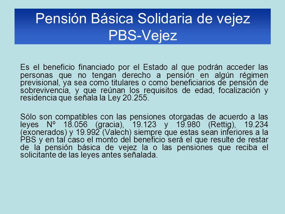 Es el beneficio financiado por el Estado al que podrán acceder las personas que no tengan derecho a pensión en algún régimen previsional, ya sea como titulares o como beneficiarios de pensión de sobrevivencia, y que reúnan los requisitos de edad, focalización y residencia que señala la Ley 20.255.
