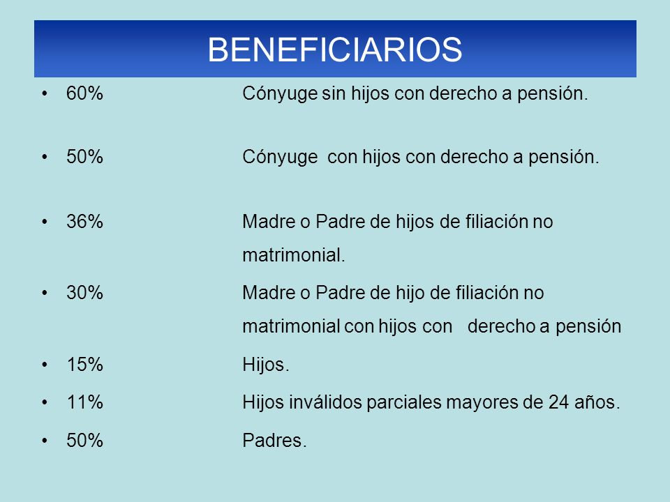 BENEFICIARIOS 60% Cónyuge sin hijos con derecho a pensión. 50% Cónyuge con hijos con derecho a pensión. 36% Madre o Padre de hijos de filiación no mat